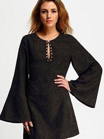 51d6f1e558a7ce Black V Neck Tshrit Dress In Jersey -SheIn(Sheinside) Beach Dresses Online