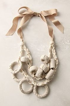 Anthro Fabric Marshmallow Necklace -Flamingo Toes