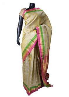 Beige Color Kanchipuram Silk Saree with Pink Color Blouse Piece - SR3893