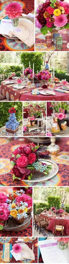 This beautiful table design was created by JenLikes Weddings and The Floral Department. The team put a romantic spin on Old-World elements combined with a Moorish influence. The theme conveys the spirit of travel, history and adventure  with colorful bursts of flowers, flirtatious fans, pale Moroccan glass and sexy silver candlesticks. Love all this color!