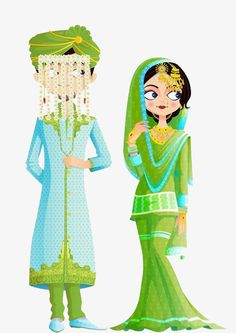Traditional indian wedding dress PNG and Clipart Bengali Wedding, Indian Wedding Couple, Wedding Couples, Sikh Wedding, Indian Weddings, Wedding Illustration, Family Illustration, Wedding Couple Cartoon, Muslim Wedding Cards