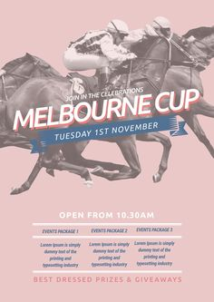 The biggest range of customisable Melbourne Cup posters and flyers that take the hassle out of organising your promotions. Choose a template and drag, drop and be done! Cup Design, Menu Design, Melb Cup, Spring Carnival, Vip Card, Spring Racing, Melbourne Cup, Graphic Design Templates, Creative Posters