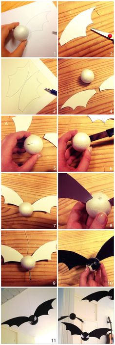 DIY - Halloween decoration: Bat tutorial  (Or you could make it gold and it would be a snitch....)