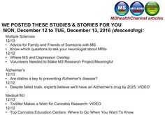 MD Health Channels (MS/Alzheimer's/Medical Marijuana) & my book posts: Today & yesterday's stories on the MDHealthChannel...