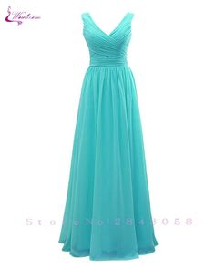 36badfe7e4d1 Waulizane Chic Silk Chiffon A-Line Lace Up Bridesmaid Dresses V-Neck  Floor-Length Sleeveless Formal Dress For Special Occasion