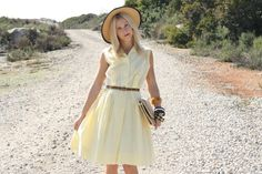 VTG 1950s 50s Soft Yellow Button-Up Sleeveless Dress M. $108.00, via Etsy.