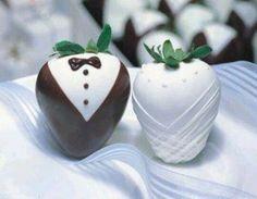 Broom and bride strawberries design.