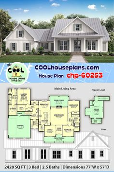 Traditional Farmhouse design featuring almost 2500 sq ft of living space, 3 bedrooms, bathrooms, Farmhouse Floor Plans, Modern Farmhouse Exterior, Craftsman House Plans, Farmhouse Homes, Farmhouse Design, Best House Plans, Country House Plans, Modern House Plans, Small House Plans