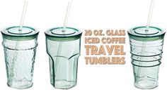Gift Guide: Recycled glass iced coffee cold drink travel cups for less than $10!