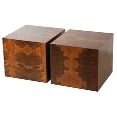Lawson Fenning on 1st Dibs - Pair Of Burl Cube Tables By Lawson-Fenning | From a unique collection of antique and modern coffee and cocktail tables at http://www.1stdibs.com/furniture/tables/coffee-tables-cocktail-tables/