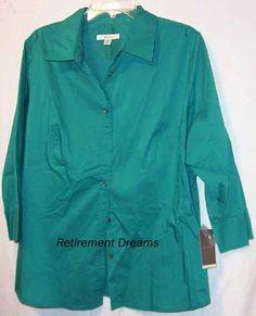 MERONA Womens 24W 24 Teal green blue Camp Shirt NEW NWT Top blouse #Merona #ButtonDownShirt #Casual