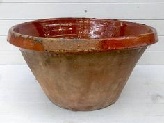 Huge Rustic French Glazed Terracotta Confit Bowl 16 /
