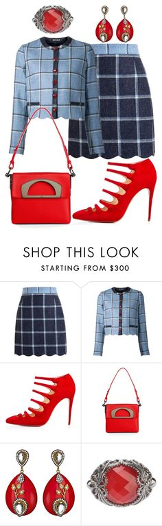 """""""Blue & Red"""" by marisol-menahem ❤ liked on Polyvore featuring House of Holland, Christian Louboutin, Meghna Designs and Stephen Webster"""