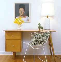 Mid-century blonde wood desk and svelte Bertoia chair makes a perfect occasional desk. Decor, Interior, Bertoia, Interior Inspiration, Home, Bertoia Chair, Workspace Inspiration, Side Chairs, Bertoia Side Chair