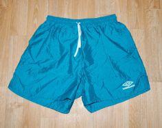 Vintage Umbro Soccer Shorts Adult Mens XL Teal Nylon White Logo Made in USA