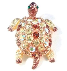 Turtle Pin Brooch Peridot Green Topaz Crystal Gold Tone Metal Animal Jewelry