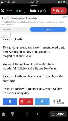 Christmas Card Sayings, Christmas Cards, Happy Holidays, Peace, Joy, Thoughts, Christmas E Cards, Happy Holi, Xmas Cards