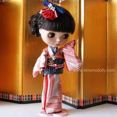Tema USA Kimono seta per Neo Blythe di KimonoDollyDecoarte su Etsy