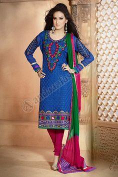 Blue Georgette Churidar Suit, Design No. DMA12674, Price: $95.05 Dress Type:Churidar Suit, Fabric:Georgette, Colour:Blue, Embellishments:Designed with Embroidered Resham Zari work, For More Details Visit Here @ http://www.andaazfashion.us/blue-georgette-churidar-suit-dmv12674.html