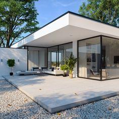 Exterior in Corona render on Behance Villa Design, Modern House Design, Floor Design, Modern House Facades, Rendered Houses, House Extension Design, House Extensions, Facade House, Home Fashion