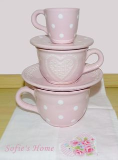 Handmade ceramic, light pink cups with heart and polka dots sofieshome.com Ceramic Tableware, Ceramic Pottery, Vintage Ceramic, Handmade Ceramic, Pink Cups, Shops, Handicraft, Light Colors, Tea Party