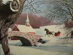 SLEIGH RIDE nostalgic vintage Paul Detlefsen Print.