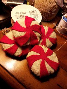 Primitive peppermint candy ornament diy, burlap and felt