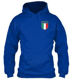 Italy Rugby Football Hoodie Royal Blue Sweatshirt Front