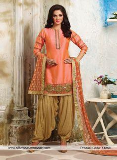 Pretty Gota Patti Festival Dupion Silk Patiala Suit