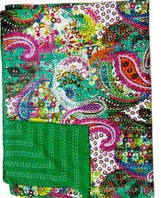 Green Paisley Kantha Quilt Twin Size Blanket Bedspread Throw 100% Cotton Gudari #LuckyHandicraft #Traditional