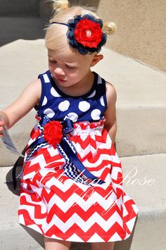 4T RTS Gorgeous Chevron Baby and Toddler 4th OF JULY Dress, Baby Girl Dress, Independence Day Toddler or Baby girl, 4th Of July outfit