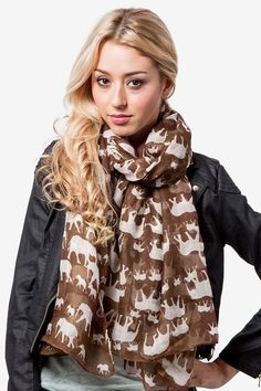 Brown Polyester Out Of Africa Scarf :: elephant scarf 4 ash