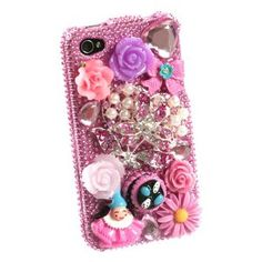 Apple iPhone 4G 4-G / 4S 4-S / Verizon / AT Cell Phone Full Premium Elite 3D 3-D Crystals Diamonds Bling Protective Case Cover Hot Pink with Floral Flowers Toys Ribbon Gemstones Design
