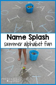 A preschool letter recognition alphabet game that makes a splash! Avoid summer slump by continuing to practice letters and the alphabet this summer. This is a fun outdoor game with water and sidewalk chalk. Summer Preschool Activities, Kindergarten Learning, Outdoor Activities For Kids, Preschool Learning Activities, Alphabet Activities, Teaching Ideas, Summer Crafts, Summer Fun, Sidewalk Chalk Games