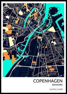 Stylish City Maps Maps poster prints by Vedran M Copenhagen City, Copenhagen Denmark, Design City, Map Design, Denmark Map, Airbnb Design, Urbane Kunst, Aerial Arts, City Maps