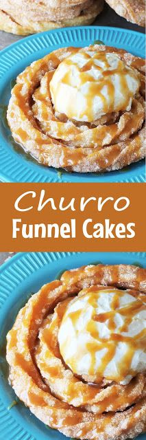 Inspired by Disneyland's delicious Churro Funnel Cake, this is an easy and decadent dessert. Spiral churro goodness topped with freshly whipped cream and drizzled with caramel sauce.