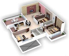 Home dream house 3d House Plans, Indian House Plans, Model House Plan, Home Design Floor Plans, House Layout Plans, Dream House Plans, Small House Plans, House Layouts, Sims House Design