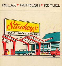 Vintage Stuckey's matchbook cover. My dad could NOT pass a Stuckey's without stopping!