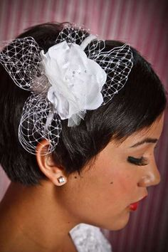 Glamorous Wedding Day Hairstyles for Short Hair Short Black Hairstyles, 2015 Hairstyles, Elegant Hairstyles, Pixie Hairstyles, Bride Hairstyles, Headband Hairstyles, Short Haircut, Wedding Headband, Beach Wedding Hair
