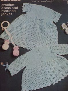 Crochet Dress and Matinee Jacket by Patons  by CarolsCreations77, $2.00