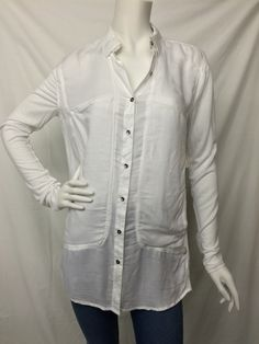 Free People- White Drapey Twill Button Down Shirt- Suburban Casuals