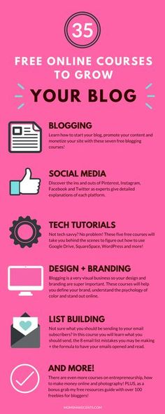 WOW! This list of free blogging courses is amazing. I just signed up for twenty of them! I know what I'll be doing this week.   blogging tips   social media courses   blogging tech tutorials   blog design   email list building  