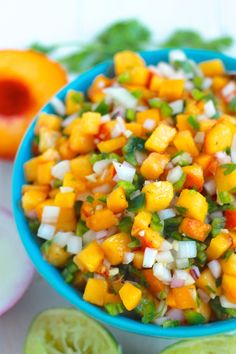 Quick and Easy Peach Salsa - a sweet and juicy salsa with chopped peaches and jalapeno. Serve with chips, in tacos, or as a topper for grilled meat.