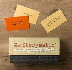 The Storymatic  There are a million stories in the naked city, and even more in this little box. Ingeniously simple, this set of cards is designed to spark a tale, inspire a skit or just get the creative juices flowing. Each player draws 2 gold cards (occupations and character traits) and 1 or 2 copper cards (situations and objects), to set the story in motion. Where it goes next is up to you.        A game, a teaching tool and a creative catalyst, all in one      540 cards (270 each of char...