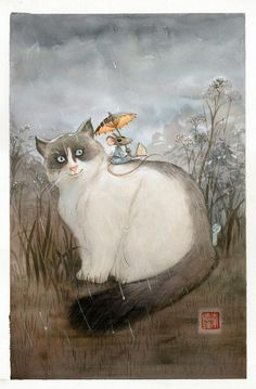 Cat watercolor painting artwork with kitty and mouse animal nature rain sky by Frédéric Saurel - illustration originale - Le Monde selon Ra