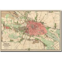Trademark Art 'Map of Berlin, 1857' Canvas Art, Size: 14 x 19, Multicolor