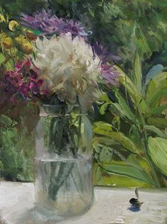 a painting a day: Bouquet on a Sill with Dead Bumblebee, 5/14/2014 by Duane Keiser