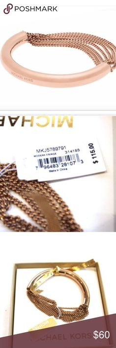"""Michael Kors Rose Gold Bracelet $115 NEW Chain NEW Michael Kors bracelet.  It's in Rose Gold.  It is half solid and half multi-chains.  It is stamped """"Michael Kors"""" on the solid area.  It comes in original packaging.  It retails for $115. It's called """"Modern Fringe"""". Michael Kors Jewelry Bracelets"""