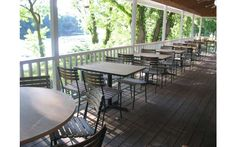 The beautiful back porch for enjoying lunch with view at the UpRiver Cafe Lake George Restaurants, Lake Luzerne, Outdoor Furniture Sets, Outdoor Decor, Great Lakes, Porch, Patio, Vacation, Travel