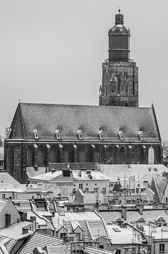 Giant #church #cathedral #winter #snow #blackandwhite 14th Century, Winter Snow, Old Town, Poland, Cathedral, Tower, Europe, Architecture, City